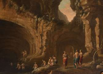 Baroque grotto image with bathers.