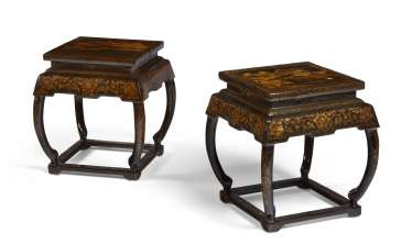 PAIR OF CHINESE BLACK AND GILT LACQUER STOOLS
