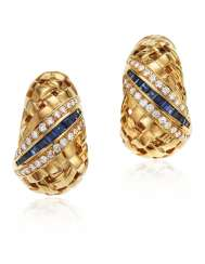 TIFFANY & CO. SAPPHIRE, DIAMOND AND GOLD EARRINGS