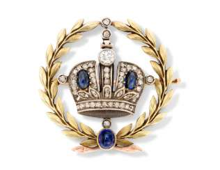 A JEWELLED TWO-COLOUR GOLD IMPERIAL PRESENTATION BROOCH