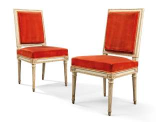 A PAIR OF LOUIS XVI GREY-PAINTED SIDE CHAIRS
