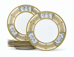 A SET OF EIGHT MINTONS PORCELAIN PATE-SUR-PATE PLATES