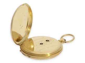 Pocket watch: beautiful gold / enamel savonnette in the style of the early watches from Patek & Czapek, Geneva, around 1850