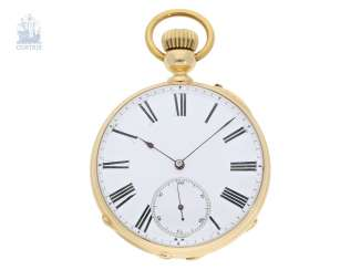 Pocket watch: very interesting and high fine Pocket chronometer with chain/auger and very rare a lift mechanism, Switzerland around 1860
