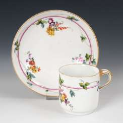 Cup with flower painting, MEISSEN.