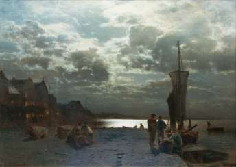 Moon night in the port. Louis Douzette