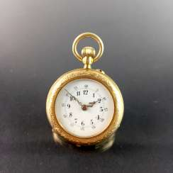 Ladies pocket watch, Gold 585, fine engraved, art Nouveau enamel-Work, cylinder-escapement, circa 1900, very good