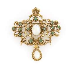 Brooch with emeralds and opals