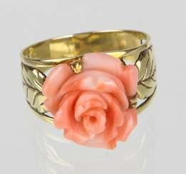 Coral Flower Ring - Yellow Gold 585