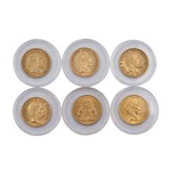 6-piece mixed lot of Dt. Empire in GOLD - consisting of