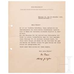 Adolf Ziegler - signed letter of congratulations to Hitler at the turn of the year 1942/43