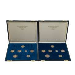 The Olympic games 1952-1972 - 2 caskets with commemorative coins