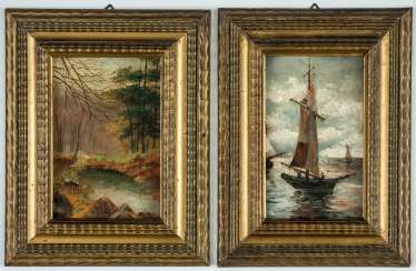 Two evocative images of a landscape and a sailing boat