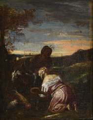 Baroque genre painter: scene with couple and cattle