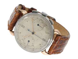 Watch: very rare early Jaeger Chronograph in steel/gold, reference 22487, 40s