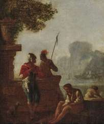 France (?), 18. Century. Riverside landscape with ruins and figure staffage