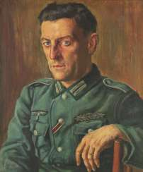 E. Louis: Portrait of a Grenadier Schmidt, Dresden, I. Grenadier-Regiment 442, 1942, Oil on canvas