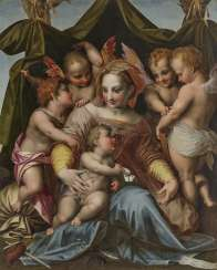 Andrea del Sarto (Andrea d'Agnolo [di Francesco]), follower - Mary with the child, the boy John and three angels