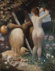 Faun with nymph in Paradise landscape