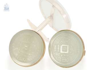 Cufflinks: antique, extra-large cufflinks with Chinese symbols carved in the stone, probably Jade