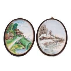 Pair of porcelain relief plaques
