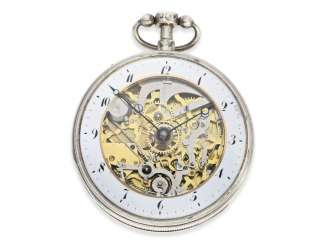 Pocket watch: extra-large skeletonized hammer mechanism pocket watch, No. 9779, probably Switzerland, CA. 1820