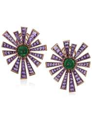 MICHELE DELLA VALLE AMETHYST AND EMERALD EARRINGS