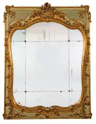 A GREEN-PAINTED AND PARCEL-GILT BOISERIE MIRROR