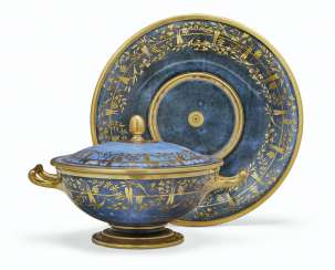 A SEVRES PORCELAIN POWDERED-BLUE GROUND ECUELLE, COVER AND S...