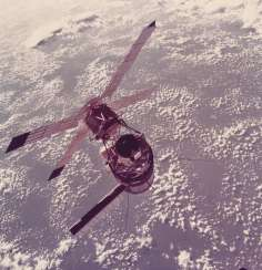 The first American space station: Skylab 3 above the Earth; Astronaut Dale Gardner secures the Palapa B-2 satellite; the relay satellite deployed from STS-26; the relay satellite deployed from STS-29, July 27, 1973-March 13, 1989