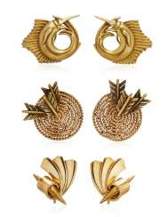 GROUP OF THREE GOLD AND DIAMOND EARRINGS