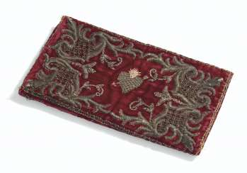 A LOUIS XV VELVET AND METALLIC THREAD EMBROIDERED BOOK COVER...