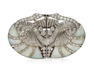 OPAL AND DIAMOND CLIP-BROOCH