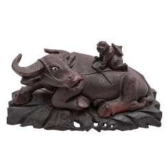 Sculpture of a water Buffalo made of wood. CHINA, around 1900.