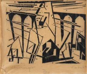 LYONEL FEININGER 1871 New York - 1956 ibid 'VIADUKT' woodcut on tissue paper, attached to cardboard
