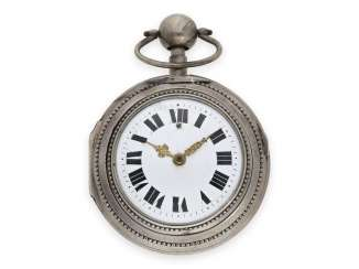 Pocket watch: large, rare Friedberger double case-Spindeluhr with 1/8-Repetition, Paul Lenz in Friedberg, Germany, CA. 1780