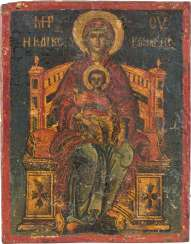 A SMALL ICON WITH THE ENTHRONED MOTHER OF GOD WITH CHRIST Greece