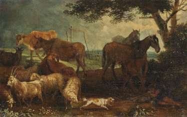 A shepherd with cattle in the water - Resting shepherd with cattle