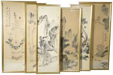 Six framed paintings of landscape, birds and flowers