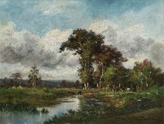 Landscape with cattle by the water