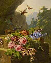 Still Life with Flowers and Songbirds before a Landscape Background