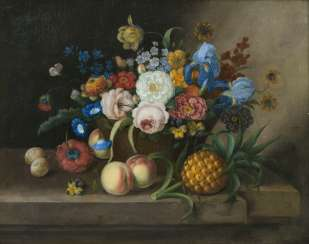 Still life with flower basket, pineapple, and peaches. Georg Seitz