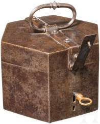 Rare hexagonal iron box with a secret lock, France, at the end of 16. Century