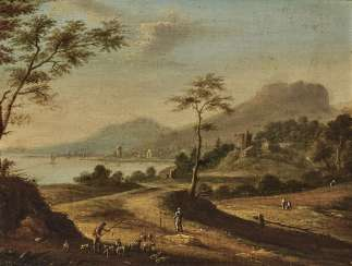 A coastal landscape with figure staffage