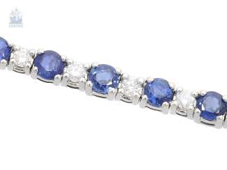 Bracelet: classic vintage sapphire/brilliant-wrought gold bracelet, approximately 2ct