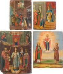 FOUR ICONS WITH THE GRACE OF IMAGES OF THE MOTHER OF GOD AND THE TEMPLE GANG, THE MOTHER OF GOD