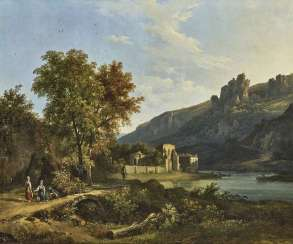 River landscape with the ruins of a monastery and figure staffage