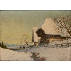 "HAUPTMANN, KARL (Freiburg / Br. 1880-1947 Herzogenhorn), ""Snow-covered houses in the Black Forest"","