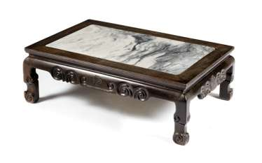 Table of hard wood, with inlaid marble top