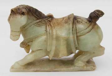 Horse sculpture, Jade, is probably China, 19./20. Century